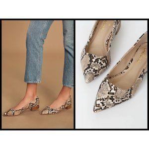 💕LULU'S Alessia Snake Print Low Pointed-Toe Heels